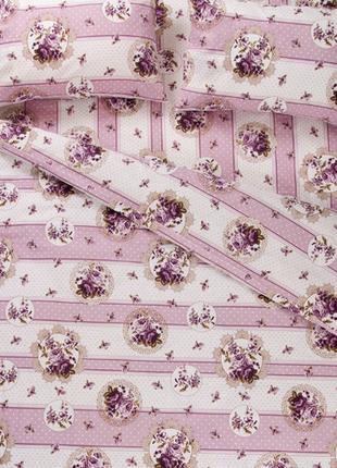 Постельное белье lotus ranforce - vintage лиловый двуспальное1