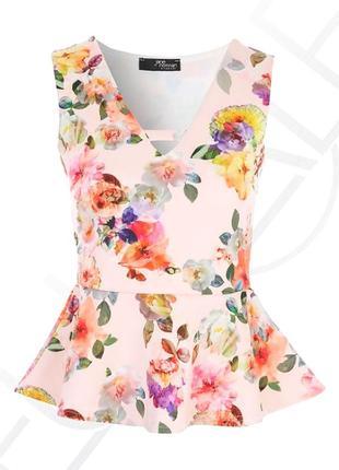 Блуза с баской в цветочный принт от jane norman