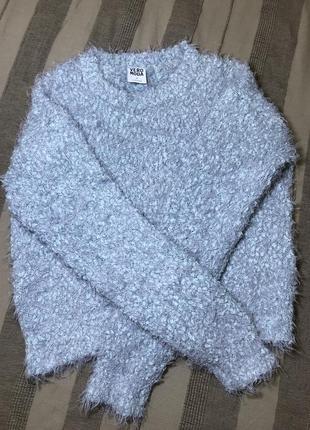 Укороченный свитер травка мятного цвета