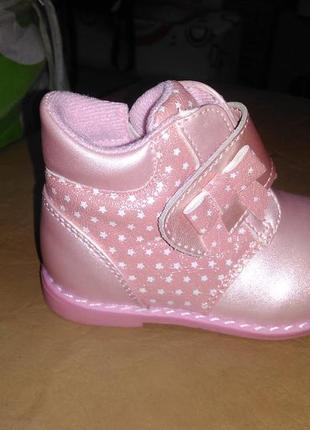 Утепленные деми ботинки 18 р. bi&ki на девочку на флисе, бики, ортопедические, розовые