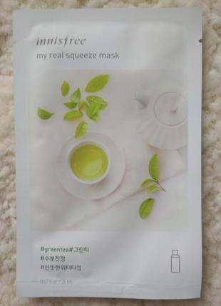 Корейская тканевая маска innisfree its real squeeze mask - green tea