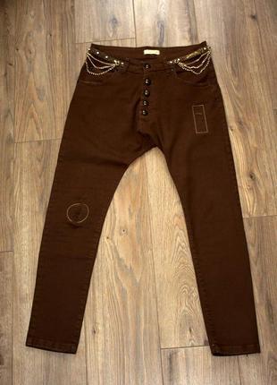 Коричневые джинсы брюки  афгани с мотней