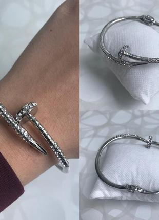 Женский металлический браслет гвоздь с камнями серебристый