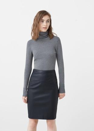 Кожаная юбка mango xs 34
