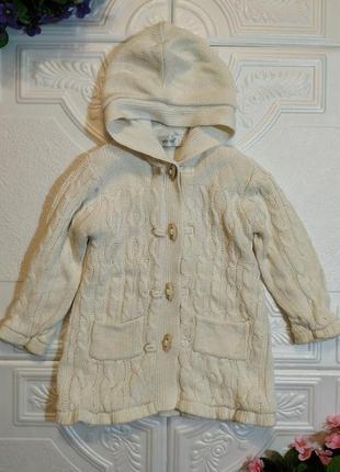 Демисезонное вязанное пальто early days на флисе, размер 86-92 см