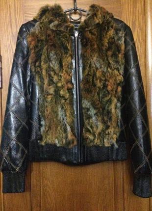 Кожаная куртка натуральная кожа натуральный мех с капюшоном эффект меховой жилетки
