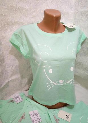 Мятная мышка укороченная футболка c&a суперкачество