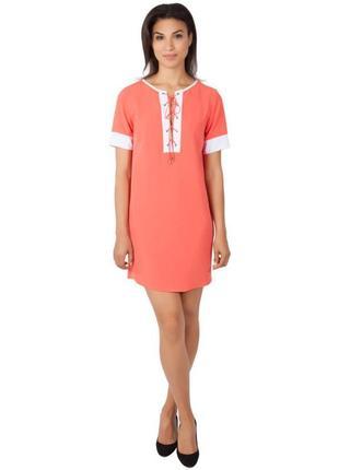 """Брендовое платье shift на шнуровке с контрастной отделкой , цвет """"коралл"""", размер """"м"""""""