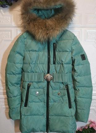 Зимний пуховик bogner, натуральный мех енота, размер 165/88a (s)