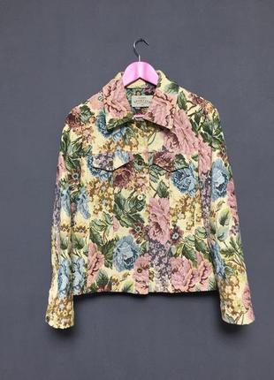 Джинсовая куртка из гобелена цветочный принт новая роскошная вышивка mango cos