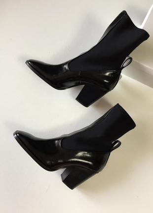 Новые кожаные сапоги ботильоны ботинки ковбойские казаки кожа каре чулки cos mango