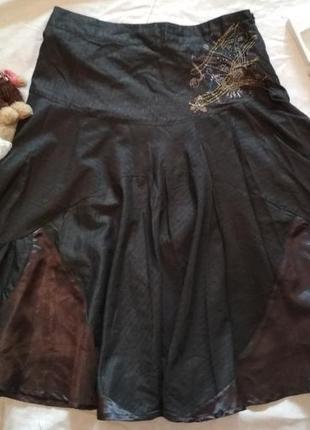 39f6f80da82 Юбка в полоску большой размер серого цвета с люрексом и вышивкой