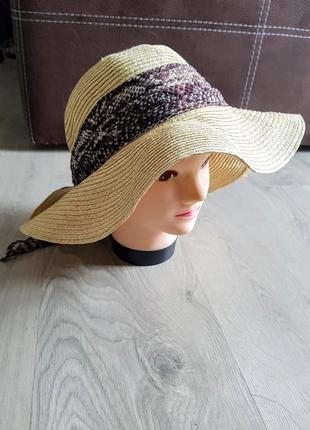 Клевая соломенная шляпа с косынкой 88% соломка