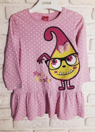 Розовое хлопковое платье kiki& koko miss monster 110 см