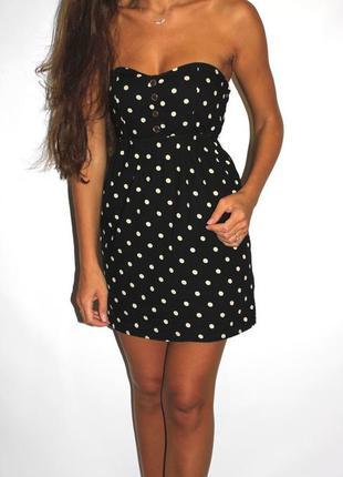 Платья - большой выбор (300ед ) -  чёрное платье в горошек