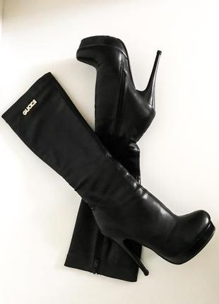 Женские чёрные сапоги чёрные на каблуке шпильке демисезонные весна-осень gucci