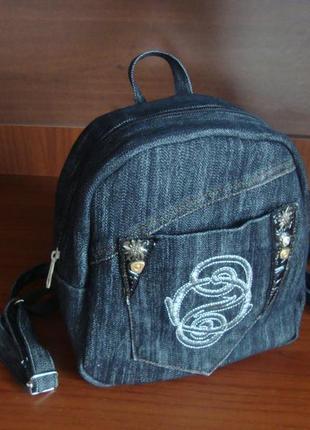 Джинсовый рюкзак рюкзачок из ткани