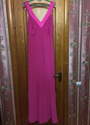 Вечернее выпускное длинное в пол платье розовое малиновое макси свадьба сукня довга 46