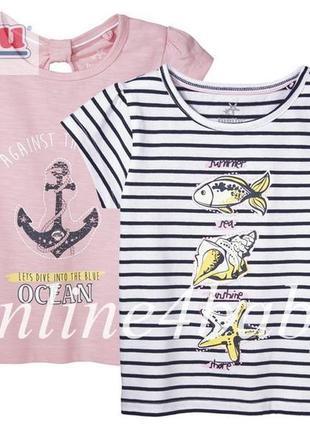 Детская футболка lupilu на девочку 1-2, 4-6 лет, набор из 2 шт