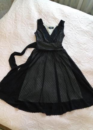 Шикарное коктейльное платье черное сетка с подкладкой