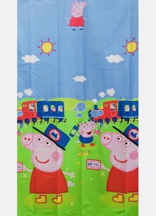 Детский постельный комплект полуторный свинка пеппа джорж паравоз