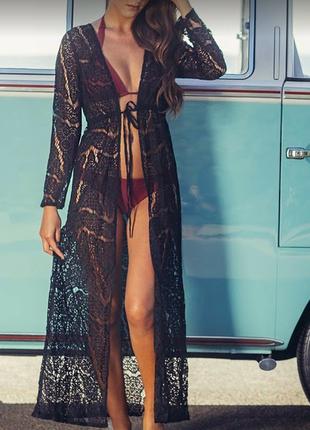 Длинная кружевная секси пляжная туника-халат с поясом черная, персик, белая