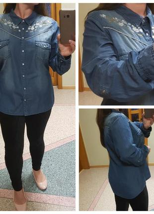 Джинсовая рубашка с вышивкой на кнопках george, р. 18
