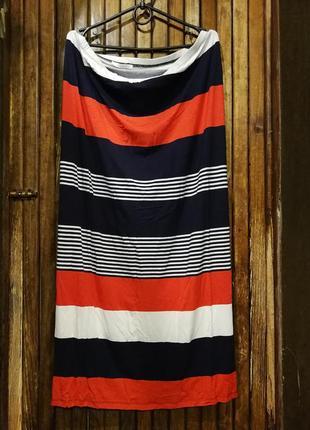 Яркая юбка в полоску lakeland из вискозы красная белая синяя