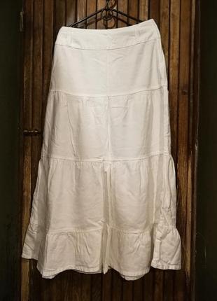 Белая юбка лен вискоза с рюшами расклешенная
