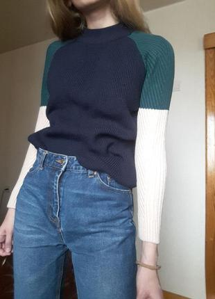 Вязаный свитер печворк