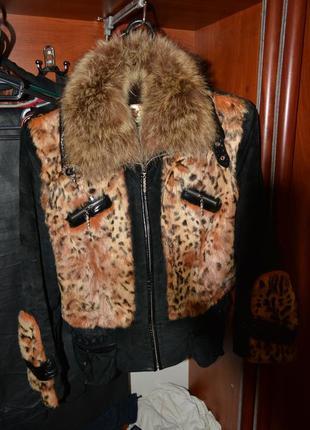 Замшевая куртка с мехом енота и кролика