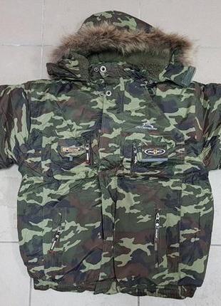 💣зимняя куртка клубовка цвет милитари с мехом защитный камуфляж