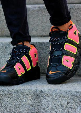 Молодежные баскетбольные кроссовки nike air more uptempo (найк ир море аптемпо, черные)