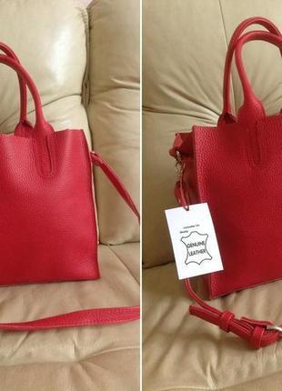 Роскошная кожаная итальянская сумка-шоппер