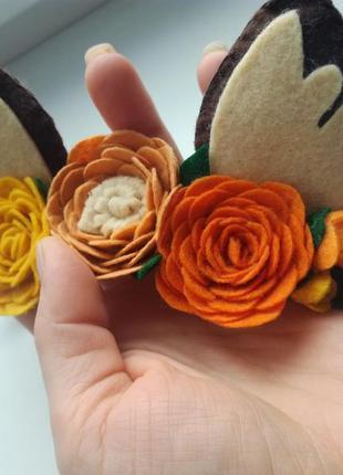 Повязочка ушки, красивые ушки, ушки из фетра, повязочка для девочки, повязка из фетра3 фото