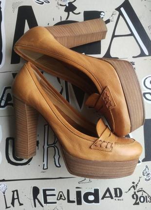 Лоферы туфли на высоком каблуке и платформе