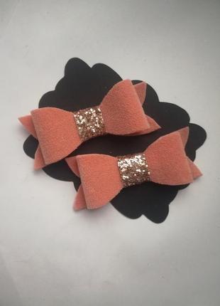 Заколочки из экокожи, бантики для девочек, заколки, резинки2 фото