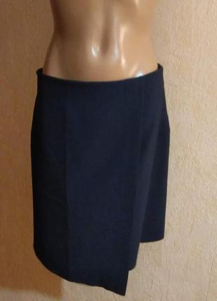 Темно-синяя юбка с запахом, миди