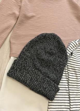 Шапка шапуля в'язана сіра one size