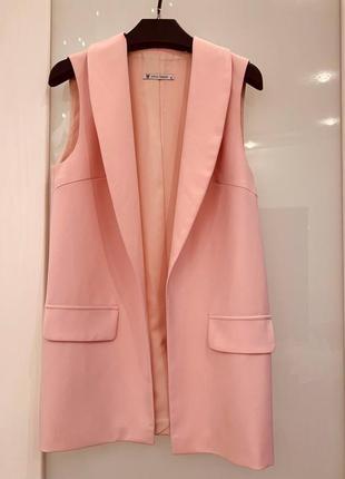 Розовый жакет пиджак без рукавов mira sezar, s