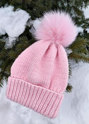 Шапка для девочки детская шапка с отворотом
