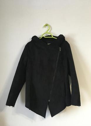Куртка - косуха / дубленка з капюшоном під замш h&m - 42/16