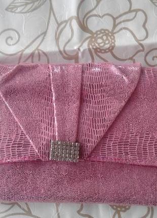 Стильный клатч - конверт, серебристо - пудровый цвет