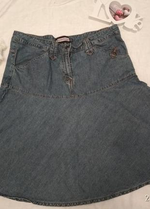 Юбка джинсовая на кокетке большой размер