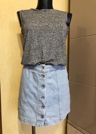 Юбка new look / юбка джинсовая / юбка на пуговицах