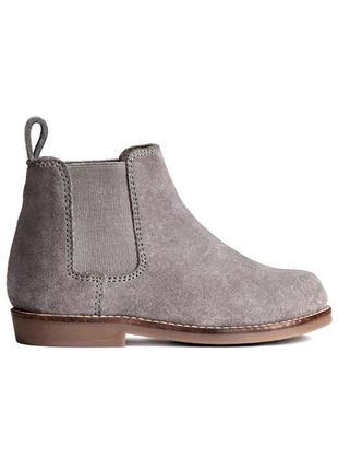Натуральные замшевые сапоги челси, ботинки, h&m
