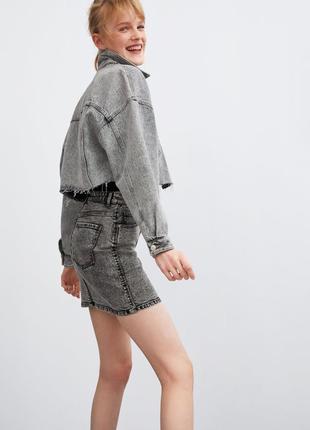 Джинсовая юбка  серая высокая талия zara оригинал потёртости деним