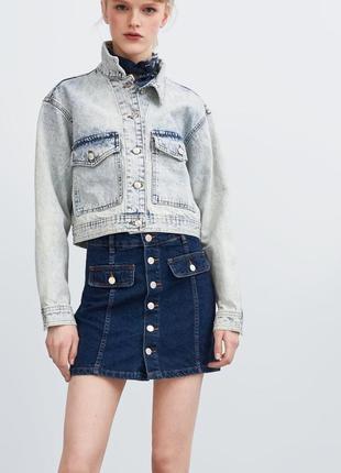Джинсовая юбка хс-л на пуговицах высокая талия zara оригинал синяя