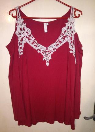 Стильная,трикотажная блуза с открытыми плечами и кружевом,бол.48-50 рр,body flirt