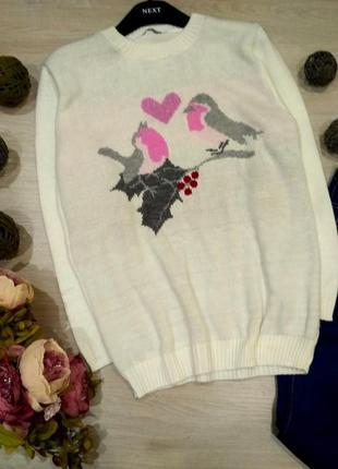 Нежный  удлиненный свитер оверсайз с птичками размер 10-14 (42-46)